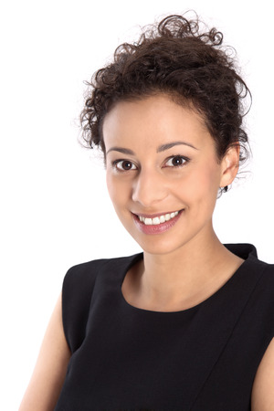 Isolated pretty business woman smiling at camera on white background  photo