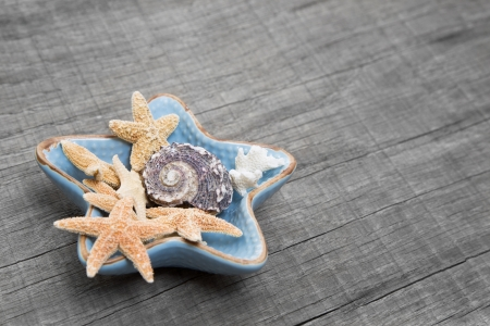 Starfishes in ceramic bowl on grey wooden shabby chic background photo
