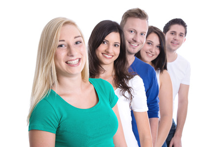 fresher: Good team work - happy trainees in a row isolated on white background - young men and woman Stock Photo