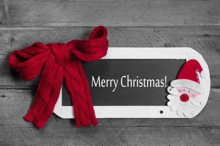 Christmas greeting card in red, white and grey - text  merry christmas photo