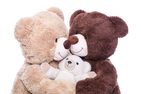 maternity leave: Happy family - mother, father and baby - concept with teddy bears isolated Stock Photo