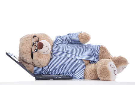 sabbatical: Sabbatical - stressed teddy bear - manager makes a break Stock Photo