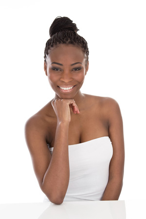 Portrait young African American woman - black and white - isolated on a white  photo