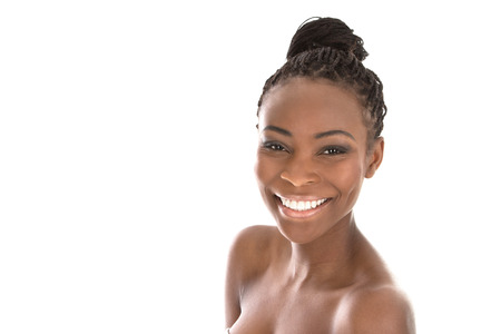 Portrait young African American woman - black and white - isolated on a white background photo