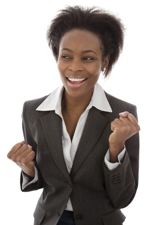 american content: Success: Black businesswoman satisfied isolated on white background - happy day Stock Photo