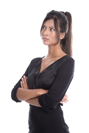 sceptical: Isolated young businesswoman in a black outfit - sceptical and pessimistic