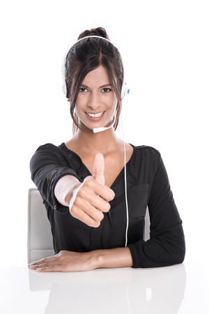 Woman in a call center - support operator with a headset, isolated on white background