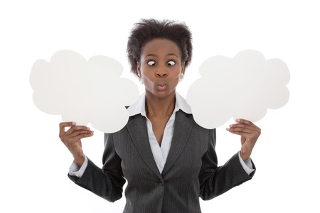 Business; African woman crossed eyed holding cloud signs isolated no white background for publicity - yes or no