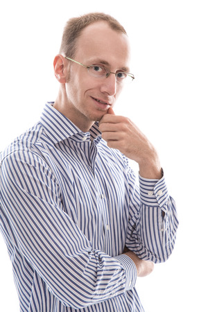 finance director: Businessman with glasses looking at camera considering  isolated on white background Stock Photo