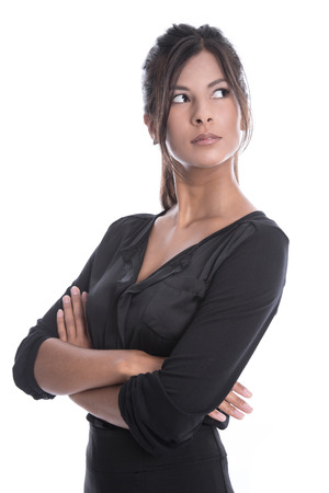 interested: Isolated young businesswoman in a black outfit - sceptical and pessimistic
