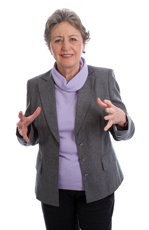 woman neck: Old grey haired woman frowning in pain with arthritis isolated on white background - pains