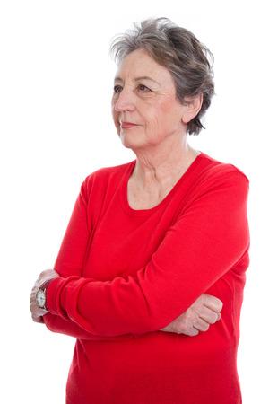 caras tristes: Triste anciana de pelo gris sobre fondo blanco - la abuela