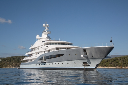 luxury yacht: Rich - front view of five story luxury yacht on the Mediterranean Sea  - big motorboat on the blue ocean