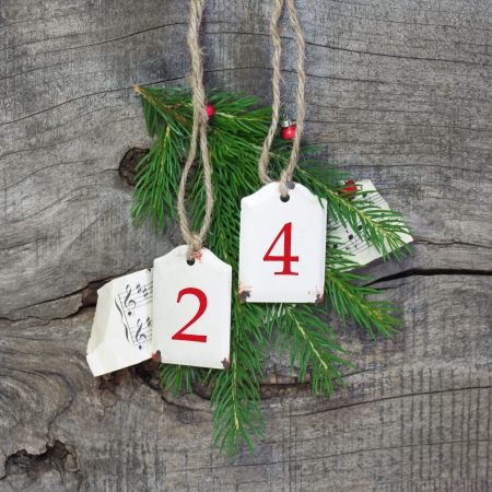 Top view of christmas decoration with 24 on wooden background photo