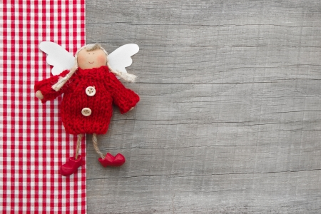 stile country: Tutore Rosso o angelo di Natale in stile country per un biglietto di auguri o carta regalo
