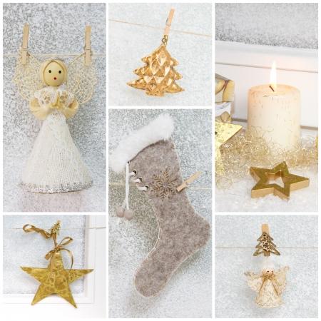 botas de navidad: Collage de diferentes fotografías de la Navidad - idea para la decoración - tarjeta de felicitación - clásicos en blanco y oro con un ángel, estrellas y velas