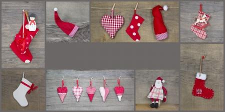 stile country: Decorazione rossa di natale con il cuore, Babbo Natale e cavallo a dondolo - stile country biglietto di auguri