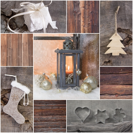 whittle: Mosaic Christmas greeting card with wood, gift, present, tree and latern in country style Stock Photo