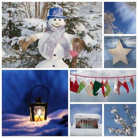 Christmas collage in blue - ideas for decoration or a greeting card with a snowman, latern and santa boots photo