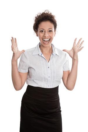 lenguaje corporal: El éxito de negocios - saltando de alegría sobre fondo blanco - mujer joven Foto de archivo