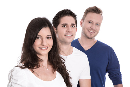 fresher: Young people - men and woman in a group - isolated on white Stock Photo