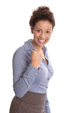 Successful business   happy young pretty woman smiling at camera with tight fist isolated on white background photo