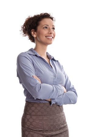 folding arms: Success:  satisfied business woman smiling wearing blue blouse folding arms on white background