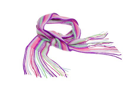 Knitted scarf on white background - fashion. photo