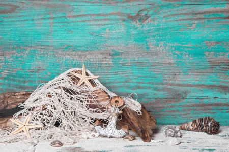driftwood:  Summer, sun, beach and sea in Turquoise - wood background. Maritime decoration.