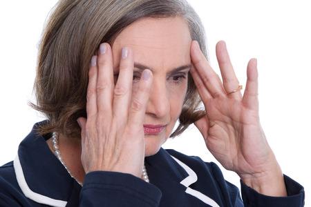 Mature lady has a headache - migraine photo