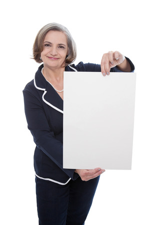 best ad: Senior lady business woman with blank white board for advertising