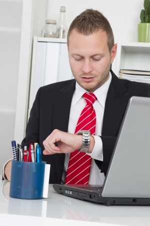 termination: Pressure of time - businessman looking at wristwatch