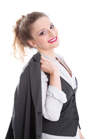 Career start business woman - young girl as bank clerk photo