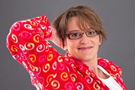 womanhood: Portrait of smiling woman in glasses Stock Photo