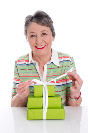 70 75: Grandmother, senior woman has big birthday Stock Photo