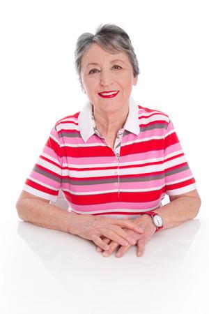 womanhood:  Fashionable happy senior laughing woman isolated Stock Photo