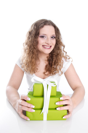 frenetic: Smiling birthday woman - isolated female with gifts