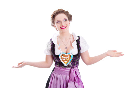 Bavarian girl gesturing do not know sign isolated on white photo