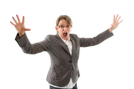 Mujer de negocios loca las manos en alto y gritando, aislados en blanco photo