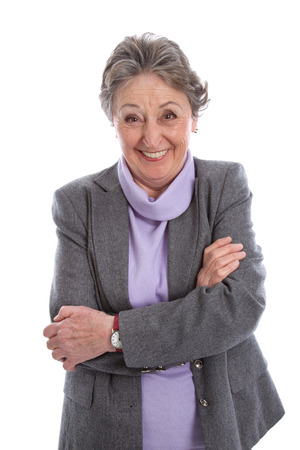 womanhood:  Funny laughing grandmother, elderly woman isolated Stock Photo