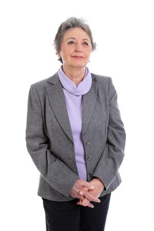 vigorous: Gray-haired senior lady looks left to the future