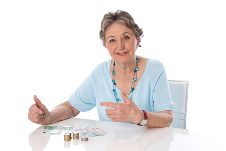 Retired woman counts her finances