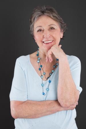 vigorous: Portrait of elderly woman with gray hair