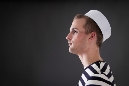 lateral:  Sailor looks into the distance Stock Photo