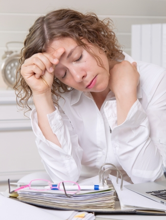 Desperate business woman in the office Stock Photo - 23837013