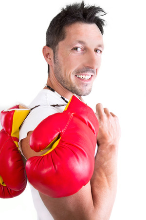 Male boxer with red gloves, isolated on white Stock Photo - 23892753