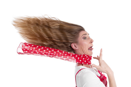 attacks: Woman stressed and isolated on white - in a panic Stock Photo