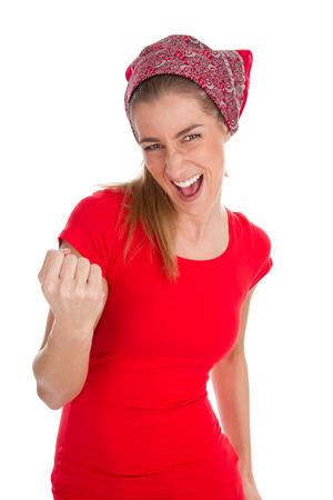 erfolgreiche frau: Erfolgreiche Frau in rot auf wei�em
