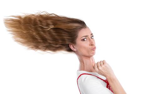 ガス - 急いで吹き髪の女性女性の手順
