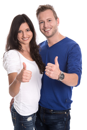 parship: Young happy couple in love with thumbs up isolated on white background. Stock Photo